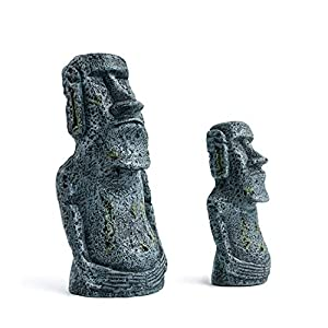 Niteangel Ancient Easter Island Stone Head Aquarium Ornament, Fish Tank Decoration Accessories 4