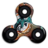 Miami Dolphins Tri-Spinner Fidget Toy Hand Spinner High Speed Metal Bearing Stress Reducer Relief Toys Perfect For ADHD EDC ADD Anxiety Autism And Boredom
