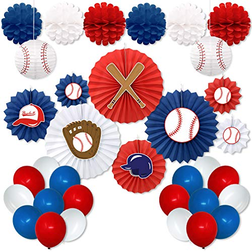 Party Baseball - Baseball Party Decorations Kit Baseball Cutouts Paper Fans Backdrop Paper Honeycomb Balls Lanterns Balloons for Sports Theme Birthday Party Decorations MLB Party Supplies