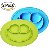 Baby Silicone Suction Placemat + Plates - Food Feeding Divided Mat for Kids and Toddlers Fits Most Highchair Trays - Easily Wipe Clean - Dishwasher and Microwave Safe (Blue+Green)