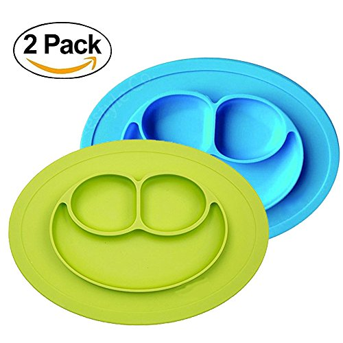 Baby Silicone Suction Placemat + Plates - Food Feeding Divided Mat for Kids and Toddlers Fits Most Highchair Trays - Easily Wipe Clean - Dishwasher and Microwave Safe (Blue+Green) from LongDear