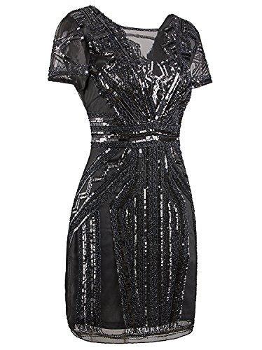 Inspired Cocktail Prom Dress 1920s Flapper Vijiv Sequins V Short Neck Dresses Grey awWq18Y