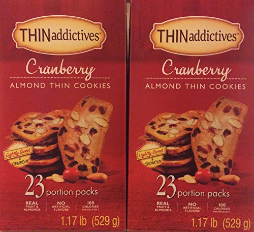 Thin addictives Cranberry Almond Thin Cookies ( 2PACK ) 23 Portions Packs in Each box 1.17lb