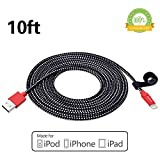 Kinps Apple MFi Certified Lightning to USB Cable 10ft/3m iPhone Charger Cord Super Long for iPhone X / 8 / 8 Plus / 7 / 7 Plus / 6S / 6S Plus / 6 / 6 Plus / SE, iPad Pro /Air/Mini(Nylon Black and Red)