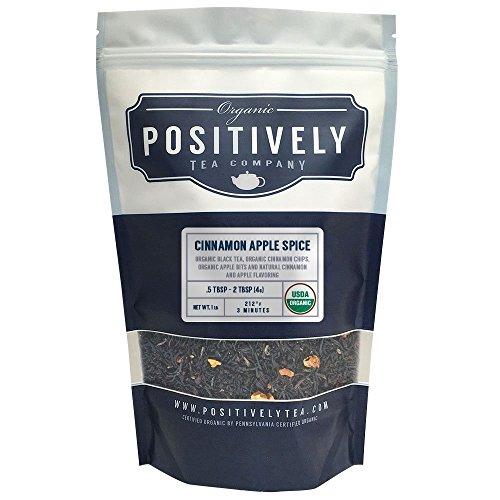 Positively Tea Company, Organic Cinnamon Apple Spice, Black Tea, Loose Leaf, USDA Organic, 1 Pound Bag