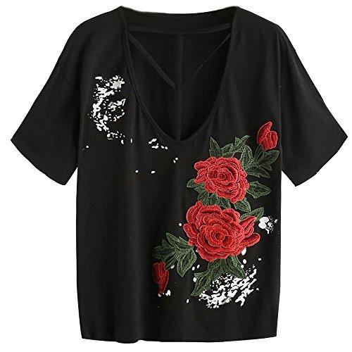 HARRYSTORE 2017 Las mujeres bordaron la camiseta Strappy del cuello del Applique de la blusa Negro