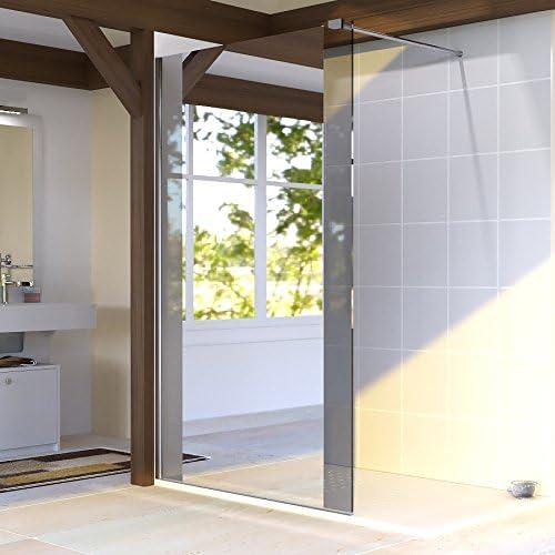 Mampara de ducha fija 8 mm Baya – 120 cm con espejo: Amazon.es: Hogar
