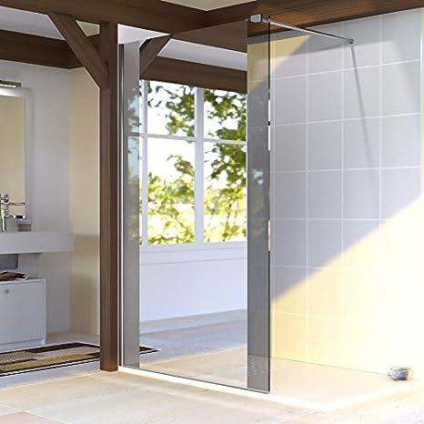 Mampara de ducha fija Baya, 8 mm, 100 cm con espejo: Amazon.es: Hogar