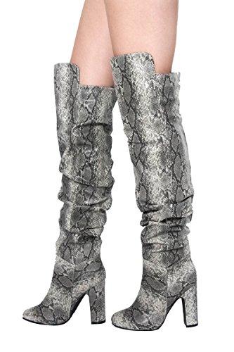 Shoesdays ,  Damen Cowboystiefel Grey Snake