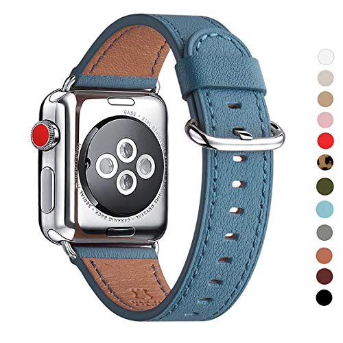 (WFEAGL Compatible with iWatch Band 38mm 40mm 42mm 44mm, Top Grain Leather Band Replacement Strap for iWatch Series 4,Series 3,Series 2,Series 1,Edition (Light Blue Band+Silver Adapter, 38mm 40mm))