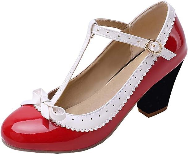 Femany Damen T spangen Pumps mit Blockabsatz Rockabilly Schuhe