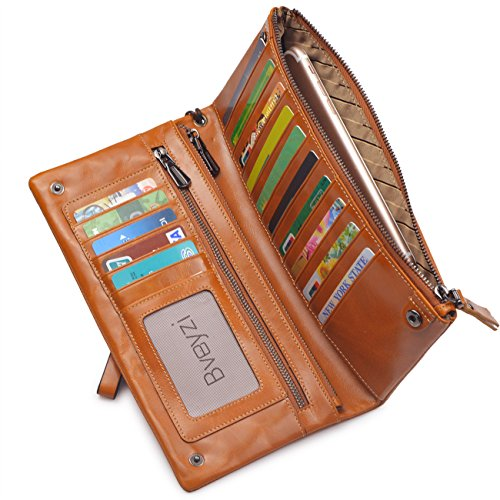 Capacity Soft Real Leather Wristlet Wallet Checkbook Passport Holder (Tan) ()