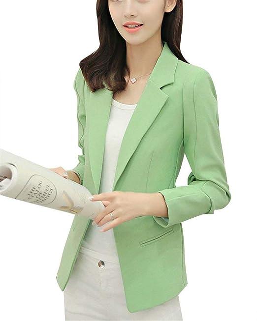 Mujer Americana Primavera Otoño Colores Sólidos Negocios Abrigos Fiesta Estilo Moda Bonita Chic Oficina Blazer Elegantes
