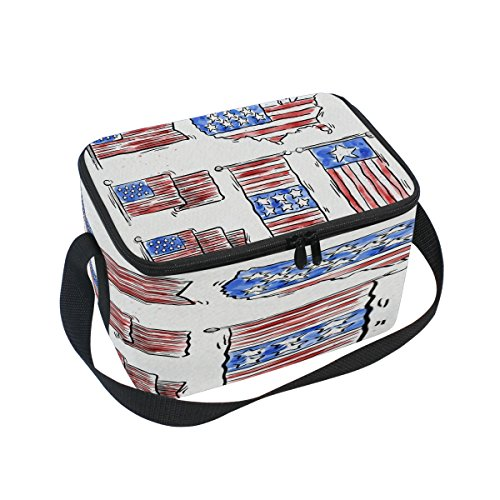 Saobao Reusable Insulated Lunch Box Tote Bag American Hand Drawn Watercolor Banners Handbag with Shoulder Strap for School work Office Travel Outdoor (Opening Banner Outdoor)