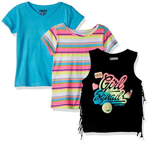 Young Girl (Limited Too Big Girls' 3 Pack T-Shirt, Girl Squad Fringe Tank Stripe Solid Multi Print, 10/12)
