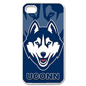 Custom UCONN Husky NCAA Apple Iphone 4 and 4s Hard Case Cover phone Cases Covers