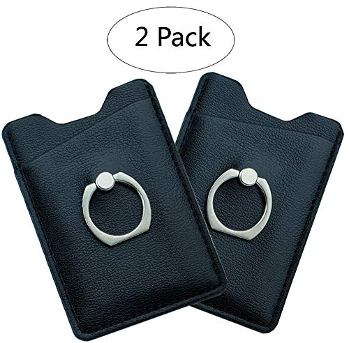 Phone Pocket Card Holder with Ring, Selbst Adhesive Stick-on PU Leather Phone Card Holder Sleeve Pocket Wallet Fits Most Cell Phones and Cases, Black - (2 Packs)