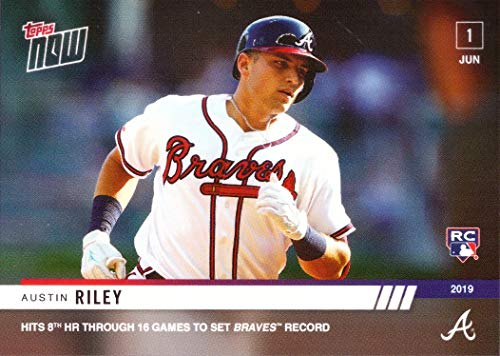 2019 Topps Now Baseball #311 Austin Riley Rookie Card - Hits 8th Home Run in 16 Games to Set Braves Record - Only 997 made!