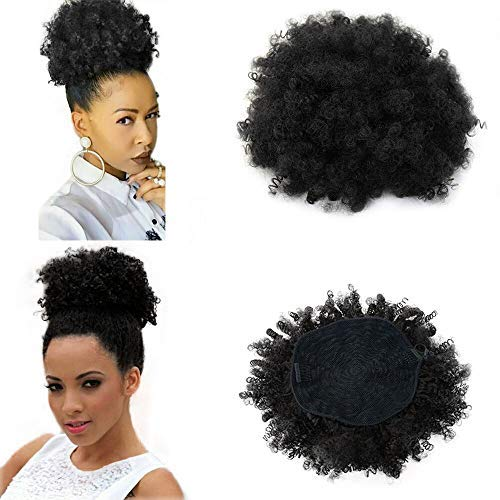 High Afro Puff Ponytail Drawstring Short Kinky Curly Hair Bun Clip in on Pony Tail Synthetic Curly Hair Bun Ponytail Wrap Updo Hair Extensions with Clips #1b