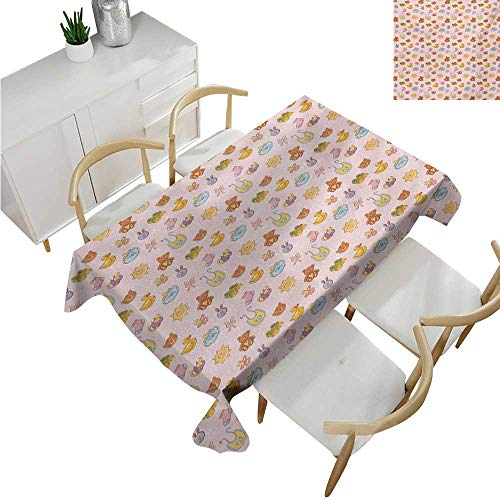 familytaste Baby,Fabric Tablecloth,Infant Toys Teddy Bears Rubber Ducks Pacifiers with Shoes and Socks Doodle Background,Oblong Wrinkle Resistant Tablecloth 70