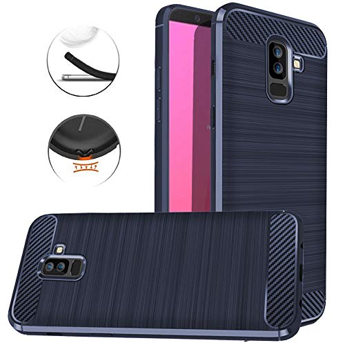 Galaxy J8 2018 Case, Dretal Carbon Fiber Shock Resistant Brushed Texture Soft TPU Phone case Anti-Fingerprint Flexible Full-Body Protective Cover for Samsung Galaxy J8 2018 (Navy)