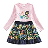 JUXINSU Toddler Girl Cotton Long Sleeve Dress Flower Animal Casual Dresses for Baby Girls Clothes 3-8 Years (LH6241Pink, 6T)