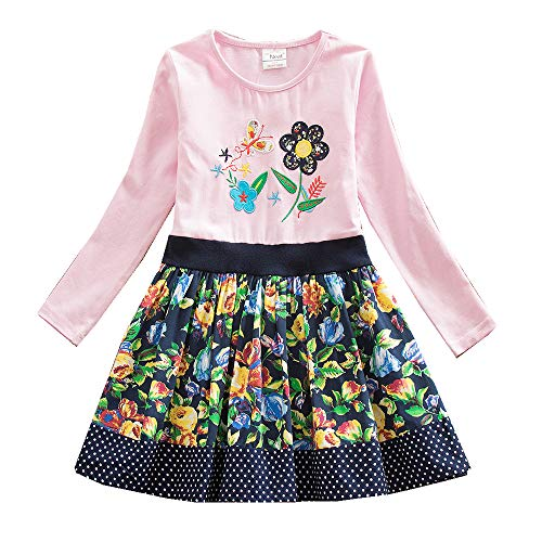 - JUXINSU Toddler Girl Cotton Long Sleeve Dress Flower Animal Casual Dresses for Baby Girls Clothes 3-8 Years (LH6241Pink, 4T)