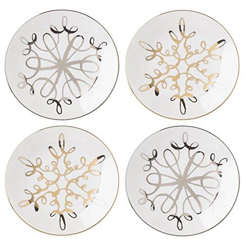 Kate Spade New York Jingle All The Way Snowflake Design Tidbit Appetizer Plates, Set of -