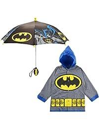 Little Boys Batman or Superman Slicker and Umbrella Rainwear Set, Age 2-7