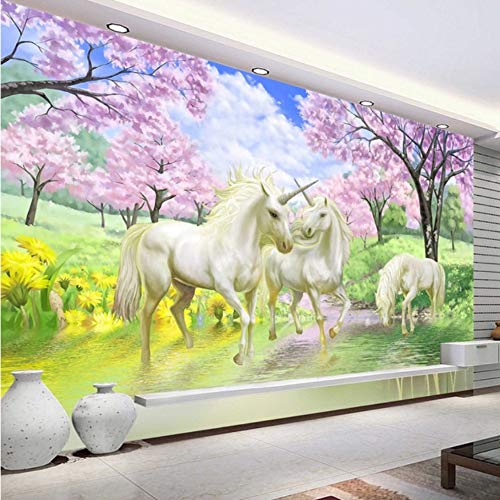 3D Wall Wallpaper Murals Decorations Stickers Unicorn Dream Cherry Blossom Background Pictures Kids Room Bedroom Living Room Art Kids Kitchen (W)300X(H)210Cm