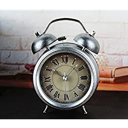 Usany Retro industrial age metal silver three - dimensional digital ringing alarm clock fashion creative desktop bedside clock
