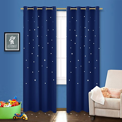NICETOWN Outer Space Galaxy Stary Night Nursery / Kid's Room Curtains Blackout Curtain With Laser Cutting Stars for Bedroom (1 Panel,52 x 95-Inch, Navy Blue) - Galaxy Curtains