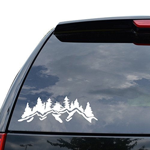 OUTDOORS FOREST MOUNTAIN Decal Sticker Car Truck Motorcycle Window Ipad Laptop Wall Decor - Size (05 inch / 13 cm Wide) - Color (Matte WHITE)