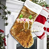 Katie Doodle Unicorn Christmas Stocking for Kids - Custom Gold Flip Sequins [Limited Edition] - Design (XS001)