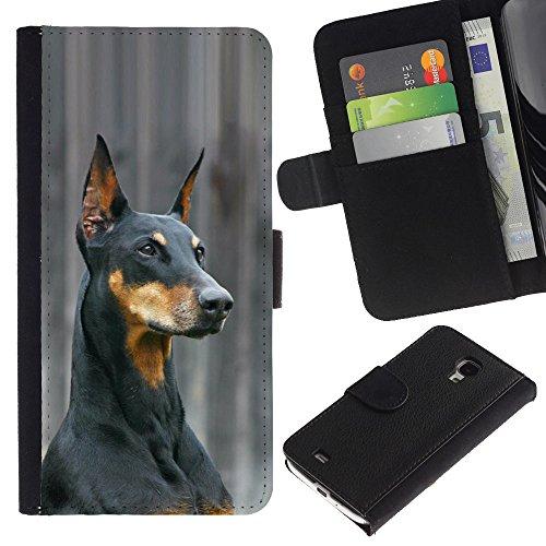 EuroCase - Samsung Galaxy S4 Mini i9190 MINI VERSION! - German pinscher Doberman dog black - Cuero PU Delgado caso cubierta Shell Armor Funda Case Cover