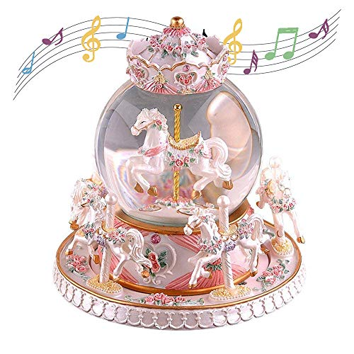 Kizove Carrousel Music Box Luxury Carousel Crystal Ball Glass Ball Dollhouse Toy Melody Castle in The Sky Rotate Music Box Perfect for Birthday Gift Valentine's Day (Pearl White)