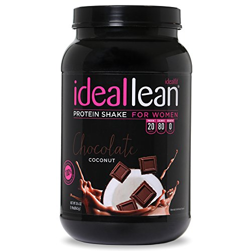 IdealLean, Protein Powder for Women, Chocolate Coconut, 20g Whey Protein Isolate, Calcium, Folic Acid, 0g Sugar, 0g Fat, 0 Carbs, 30 Servings
