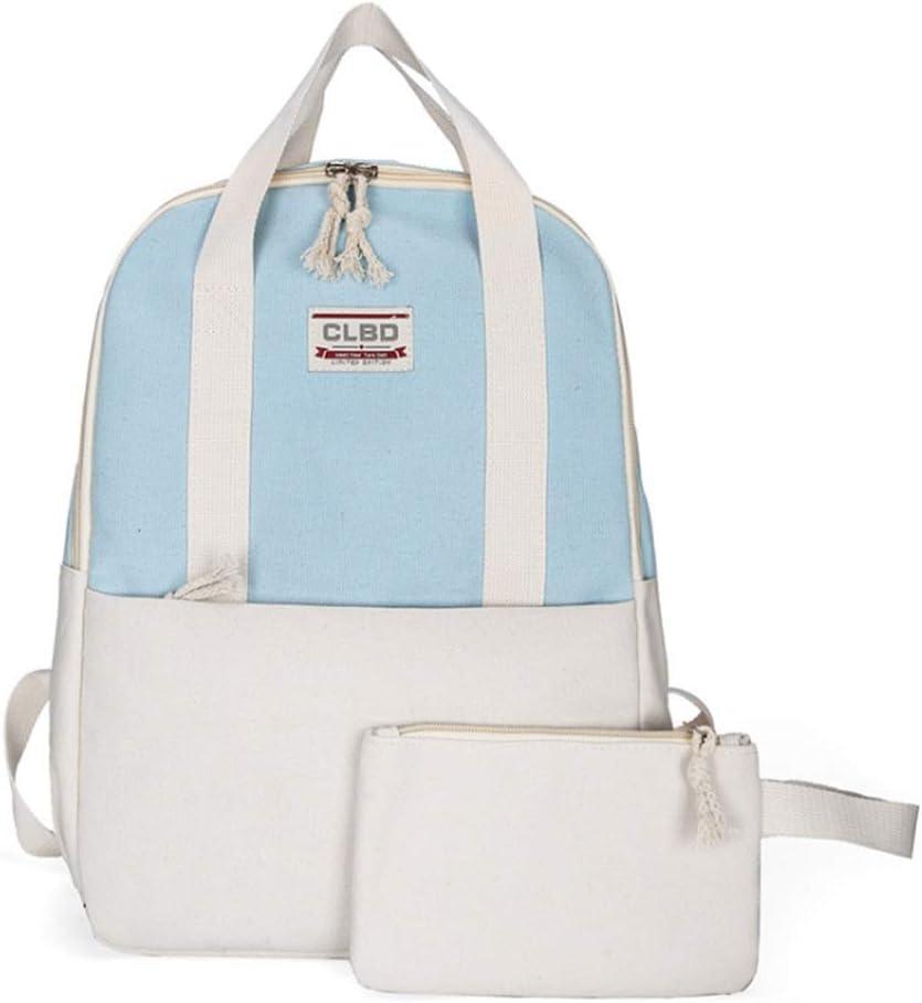 Color : Blue MAODATOU Canvas Laptop Backpack Set Teens Girls Backpack Shoulder Bag Purse School Bookbag Set for Travel Daily Use Canvas School Backpack 3Pcs