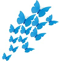 BTMB 3D Blue Butterfly Wall Stickers Removable Mural Wall Art Decor for Room Bedroom Party,Pack of 36 (Blue)