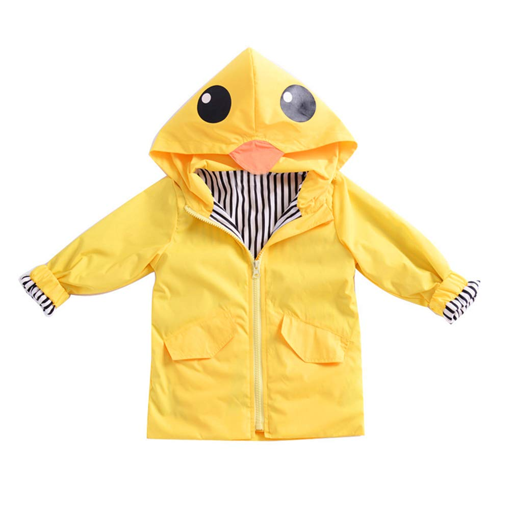 Boys Girls Baby Yellow Duck Outwear Jacket with Pocket Fall Spring Autumn Clothes Zip up Hooded Coats Top bqlove