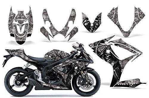 One Industries Suzuki Graphics (2006-2007 Suzuki GSX R600/R750 AMRRACING ATV Graphics Decal Kit-Reaper-Silver)