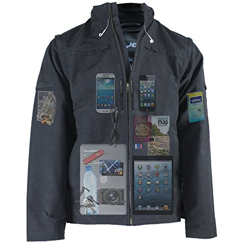 Price comparison product image AyeGear J25 Jacket and Vest with 25 Pockets,  Tablet iPad Pockets,  Navy Blue XL