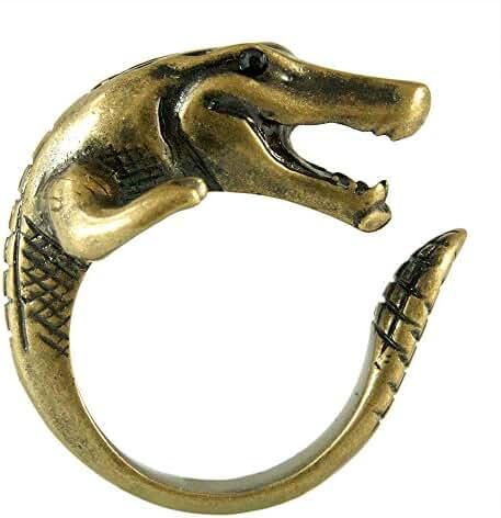 Enhanced Crocodile Alligator Adjustable Animal Wrap Ring Vintage Gold Tone