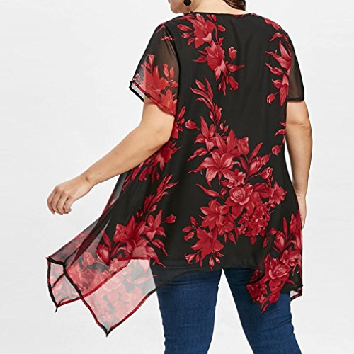 Kaiki Femmes Plus Taille Sillonnent Floral Printing Cou V Blouse Manches Courtes