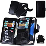 Galaxy S7 Case, Premium Leather Credit Card Holder Feature Wallet Type Flip Folio Case - Detachable Magnetic Back Cover with Lanyard Wrist Hand Strap for G930 Samsung Galaxy S7 - Black