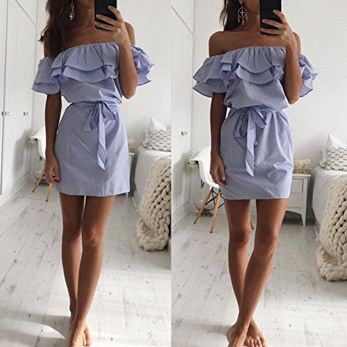 L Shoulder Sexy Dress Stripe Women Blue Diamondo Tie Off Ruffles Casual Strapless POqfqwE4x