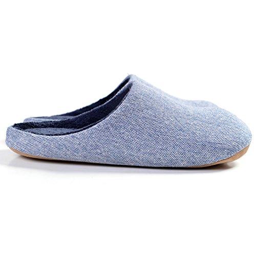 39 Peluche Eu Femmes Pantoufles d'intérieur Hommes Lavable 42 Légère Bleu Coton Confortable Maison Mousse en Doublure Chaussons et Chaud 1Ffpqxwwn