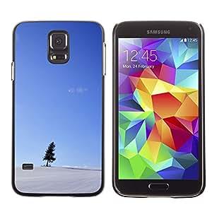 X-ray Impreso colorido protector duro espalda Funda piel de Shell para SAMSUNG Galaxy S5 V / i9600 / SM-G900F / SM-G900M / SM-G900A / SM-G900T / SM-G900W8 - Snow Blue Sky Small Tree Black