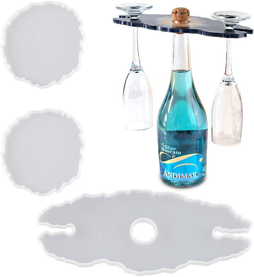 molde de silicona para resina posavasos y botellero pack 3