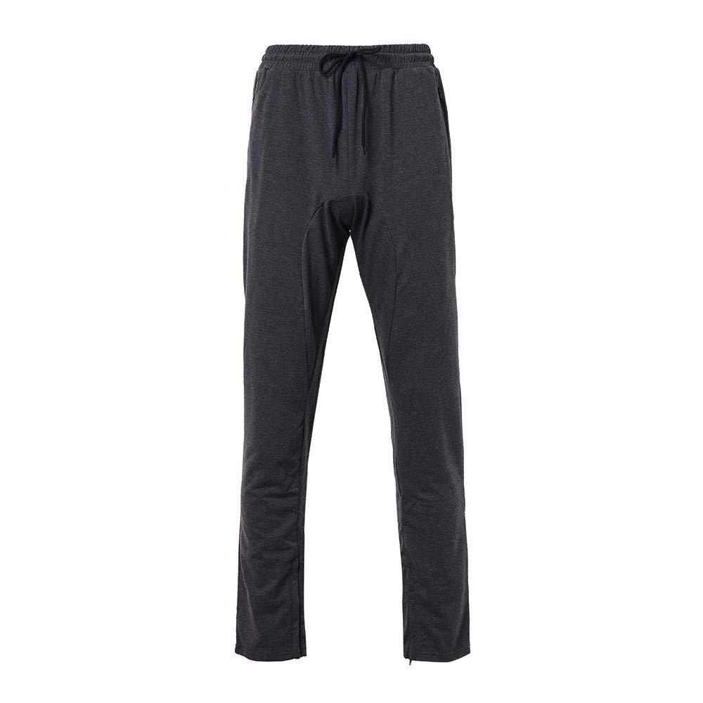 9cf27f270694ef Allywit Mens Casual Cotton Zipper Sports Trousers Joggers Sweatpants Pants  Big and Tall - - Amazon.com